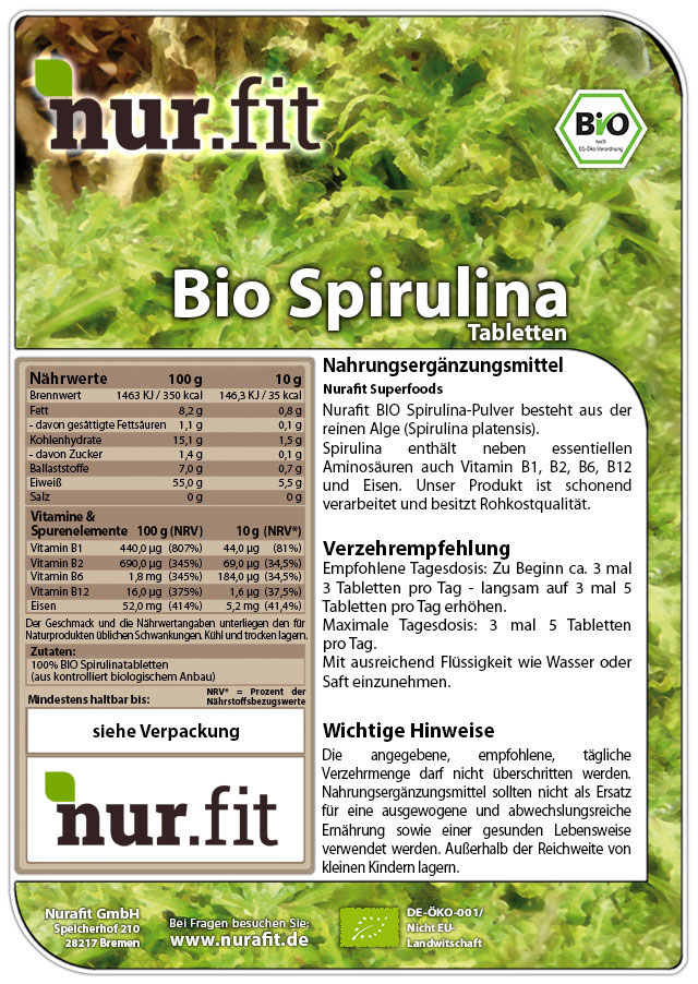 Organic Spirulina Tabs
