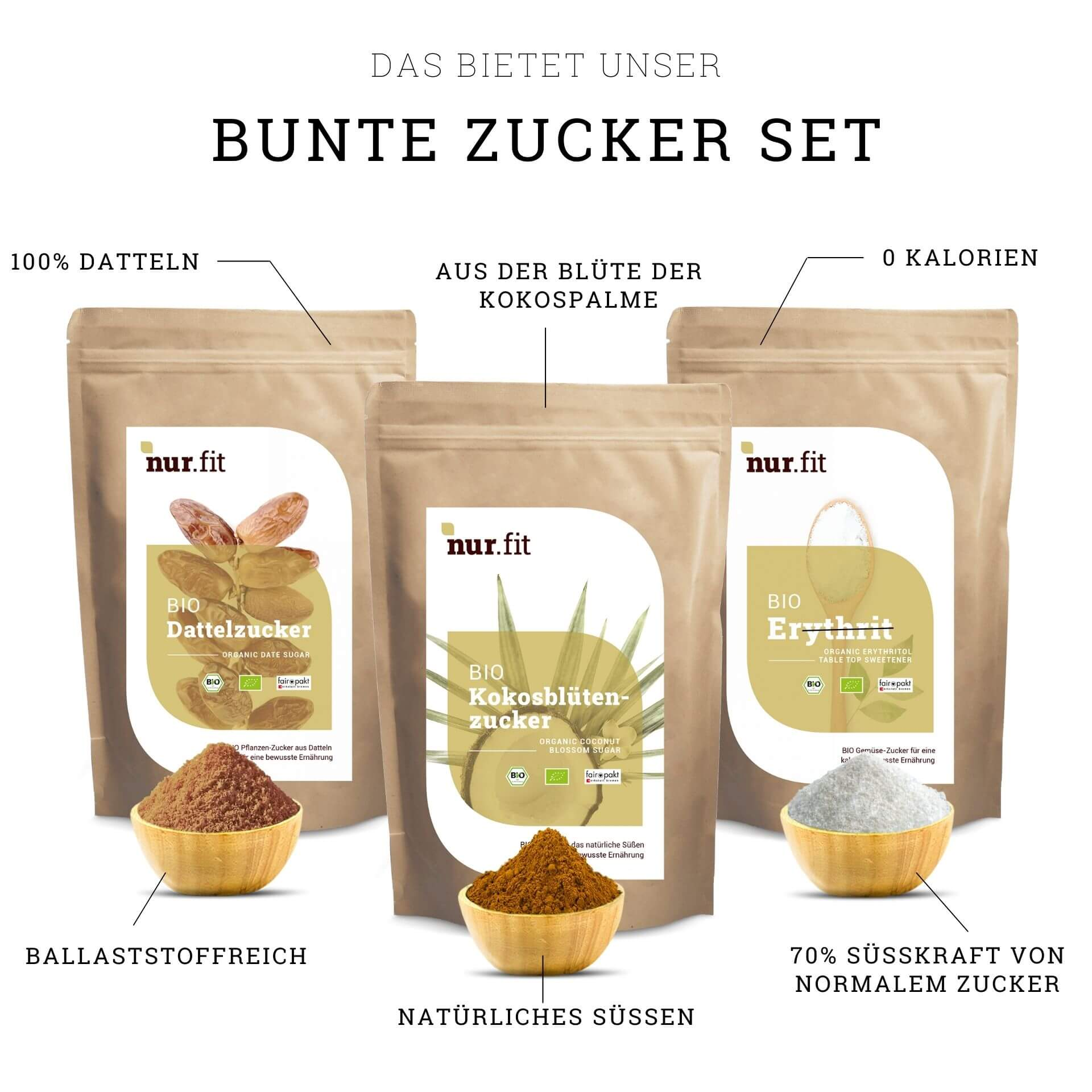 Bunte Zucker Set