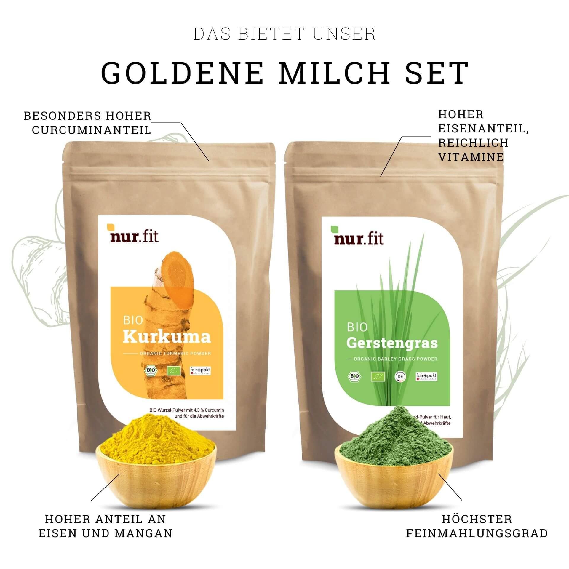 Goldene Milch Set mit BIO Gerstengras