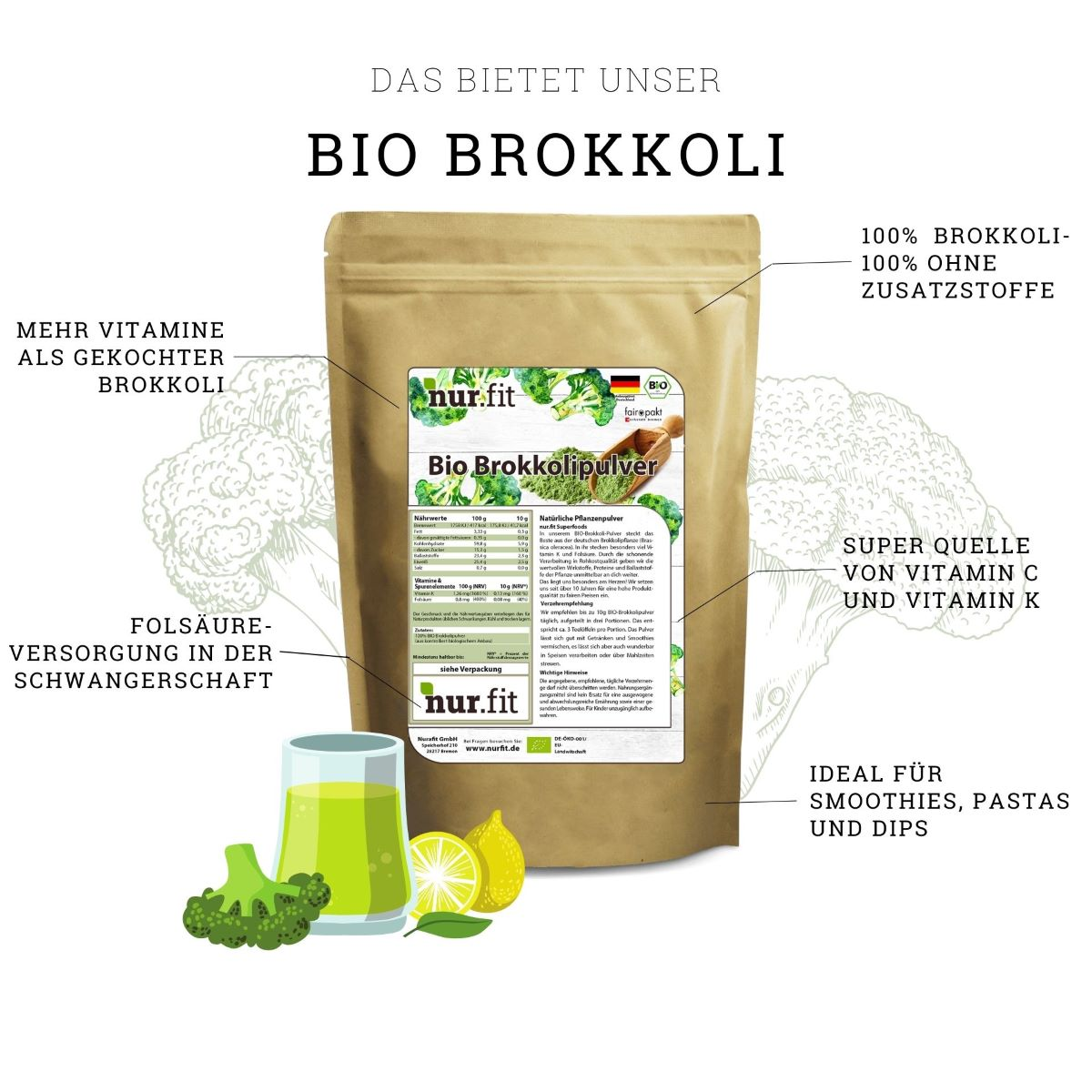 Organic Broccoli Powder 500g