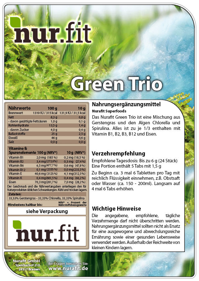 Green Trio Tabs 250g