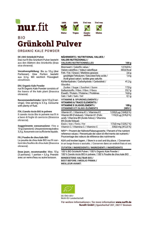 BIO Grünkohl Pulver aus Deutschland