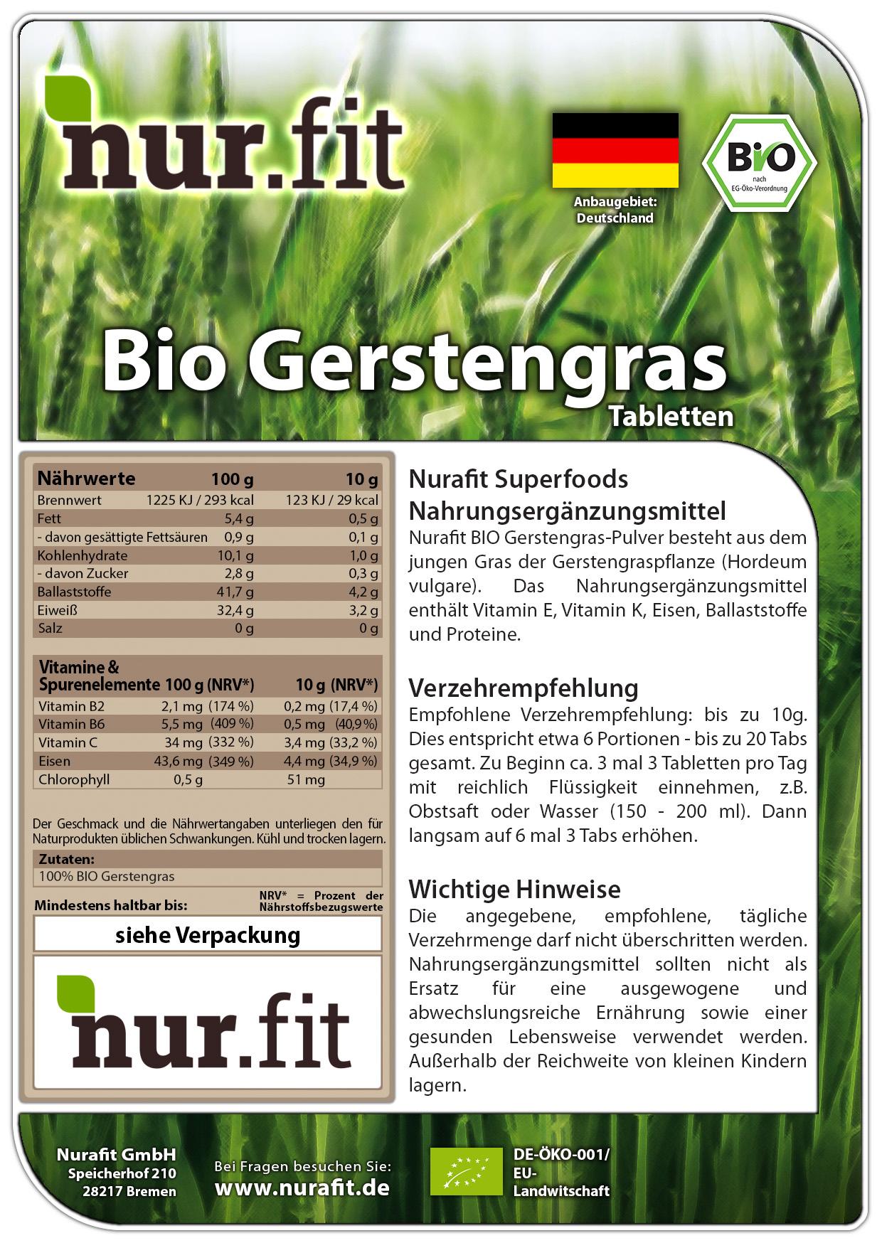 BIO Gerstengras Tabs