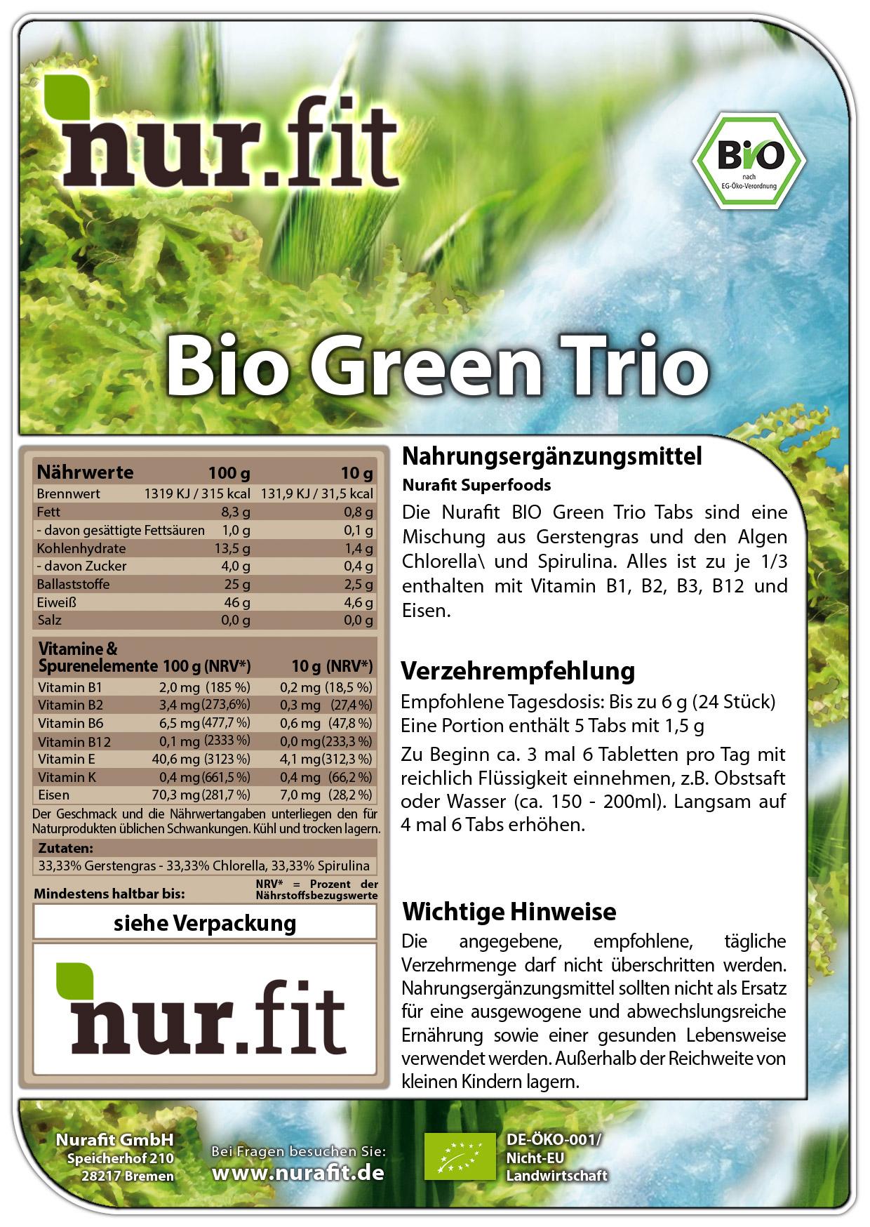 Organic Green Trio Tabs