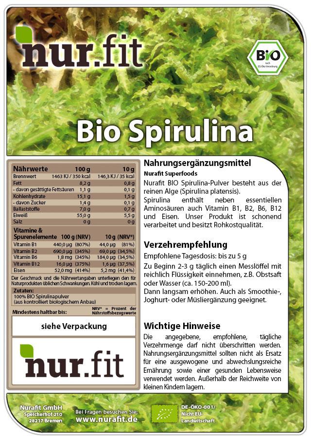 Organic Spirulina Powder 500g