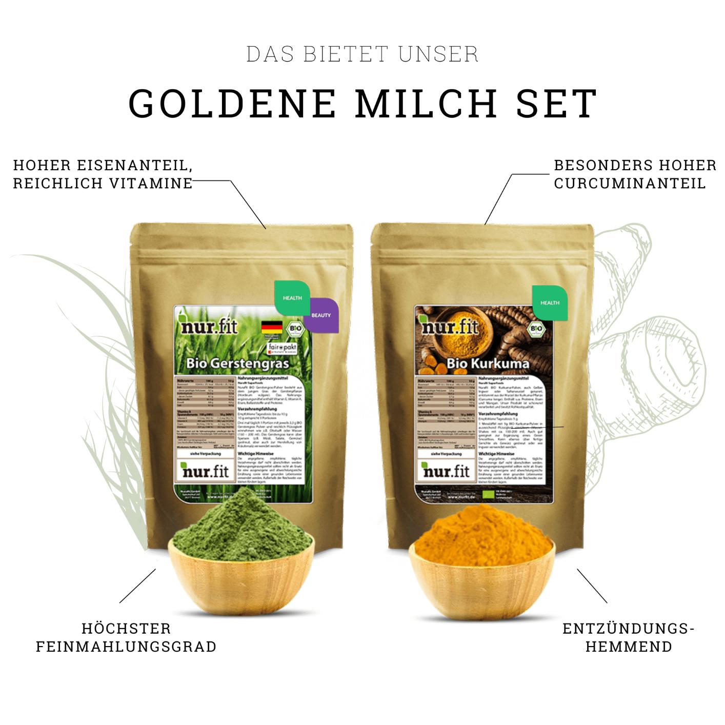 Golden Milk with Organic Barley Grass Set