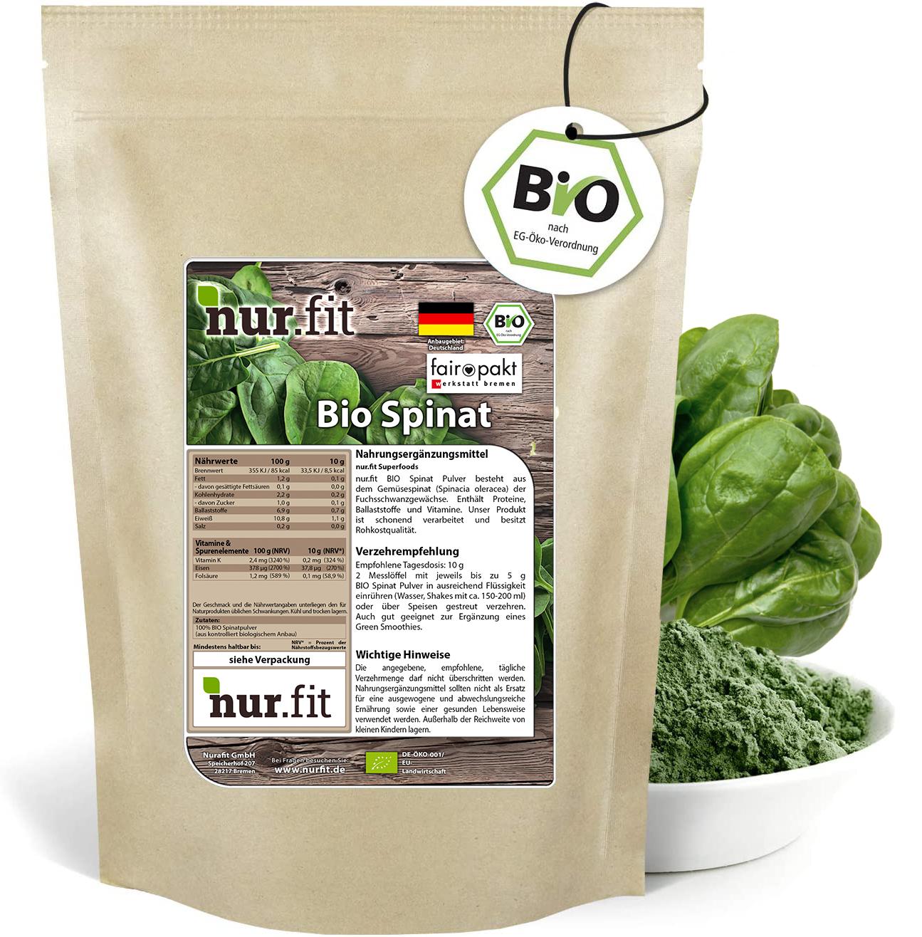 BIO Spinat Pulver aus Deutschland